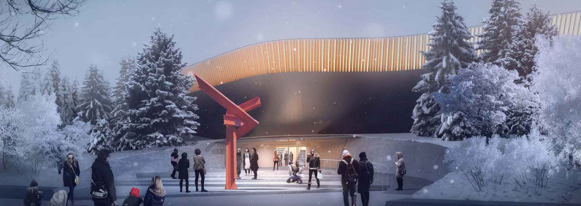 Winter rendering of new waterfront art gallery