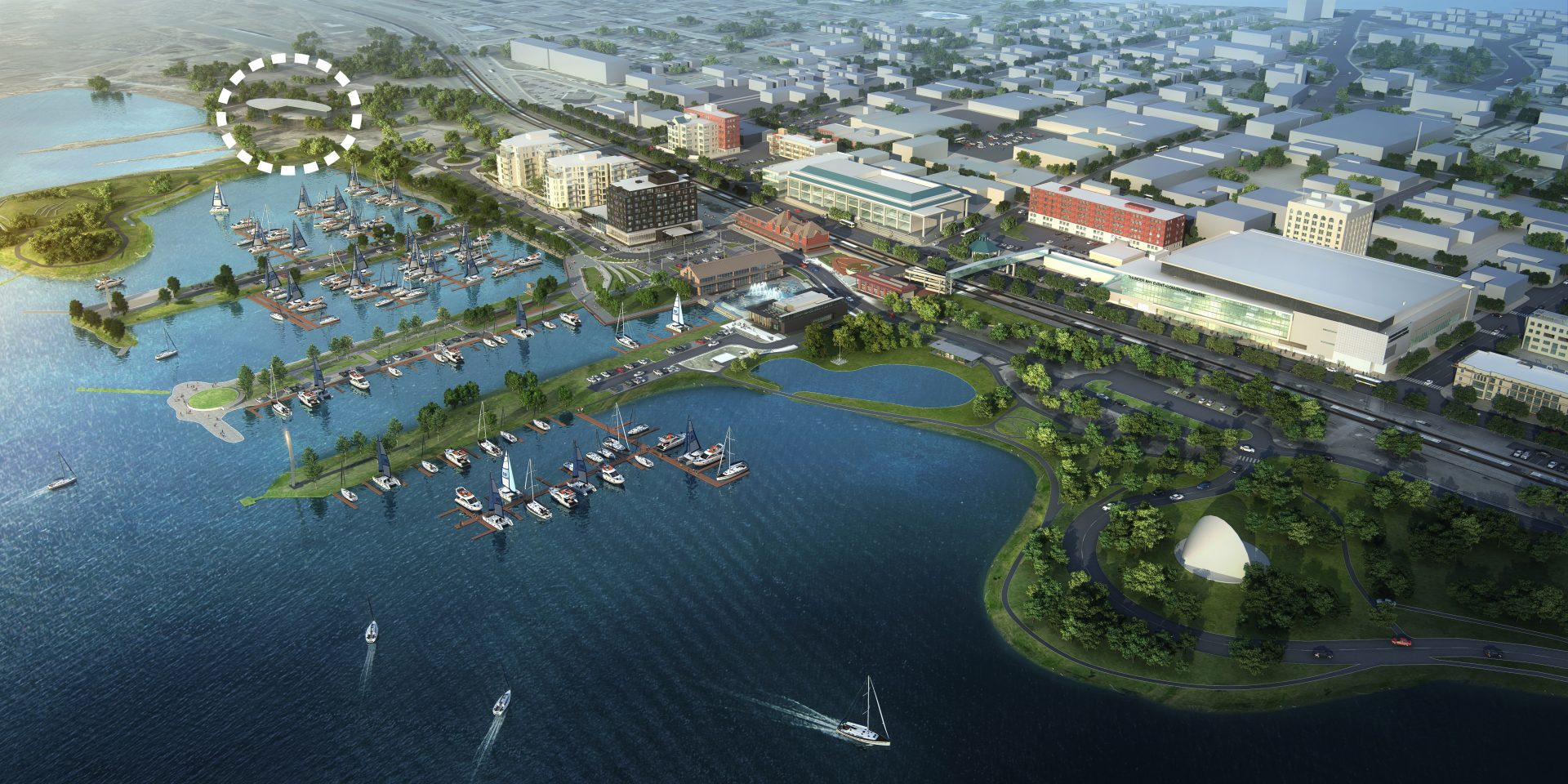 aerial rendering of location of new waterfront art gallery