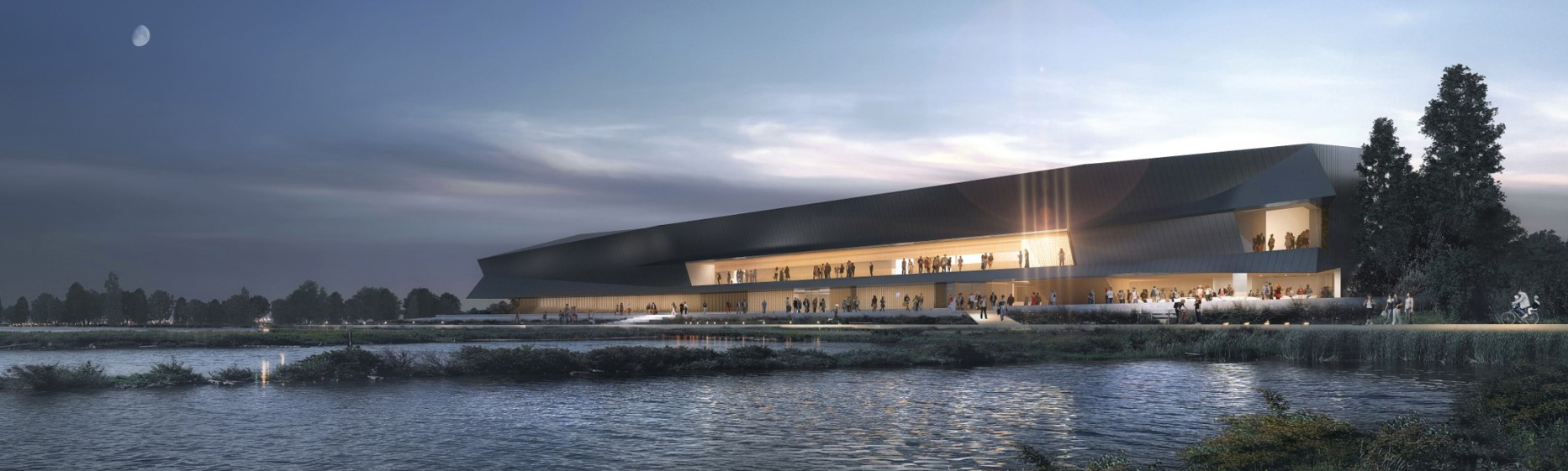 rendering of new waterfront gallery at dusk