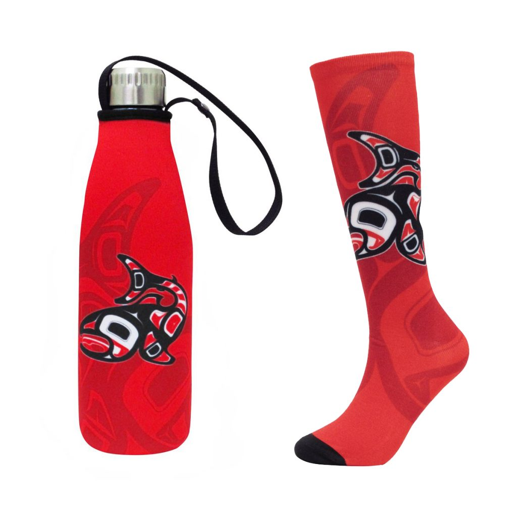 Salmon Stainless Steel Bottle and Sock
