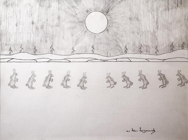Ahmoo Angeconeb 10 Rabbits, c1982 graphite on paper 54 x 72 cm Gift of the Artist