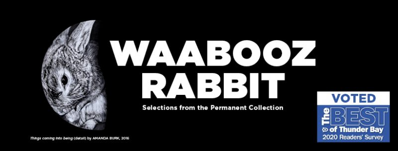 Waabooz/Rabbit banner image featuring Things coming into being by Amanda Burk a Black and white image of a rabbit in the shape of a half moon