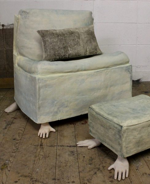 """JULIA MILLS, Blue Chair, 25"""" x 24.5"""" x 21"""", stained ceramic, 2021 JULIA MILLS, Blue Foot Stool, 14""""x6""""x11.5"""", stained ceramic, 2021"""