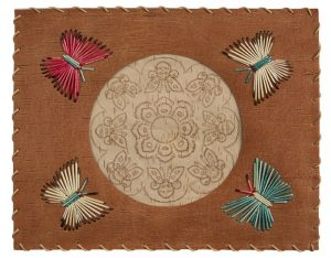 Artist: Angelique Merasty Title: Butterfly and Flower Date: circa 1982 Medium: birch bark, porcupine quill, willow root, mat board Dimensions: 25.5 x 31.5 cm