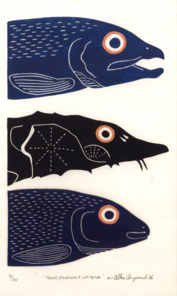 Ahmoo Angeconeb, Trout, sturgeon and Whitefish, 1986, linocut on paper (7/30), 42.5 x 26.5 cm, Gift of L. Bruce Pierce, Norflex Limited, 1994.