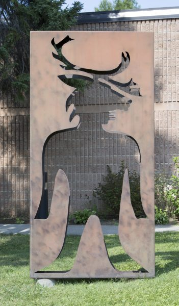 Ahmoo Angeconeb, Man From the CaribouTotem Box, 1995, steel, 234 x 113.5 cm, Thunder Bay Art Gallery Collection, 1995.