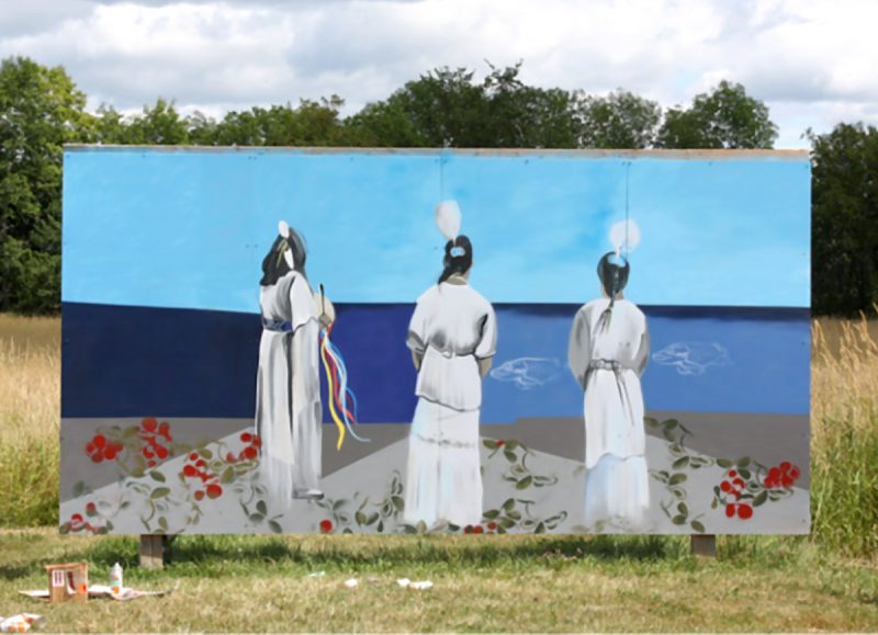 Kwewog Giiwednog—Women of the North Spray paint an exterior acrylic paint on aluminum sheeting 16x8 ft 2019