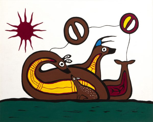 Francis Kagige Untitled (Deer Family), 1980 Acrylic on canvas board 46 x 61 cm Gift of Mr. N. C Opperman, 1988.